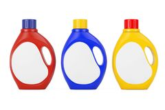 Colored Plastic Detergent Container Bottle with Blank Space Labe. Colored Plastic Detergent Container Bottles with Blank Space Label for Yours Design on a white Royalty Free Stock Photography