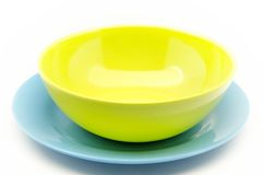 Colored plastic dishes Stock Photography