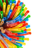 Colored Plastic Drinking Straws with copy-space Royalty Free Stock Photos