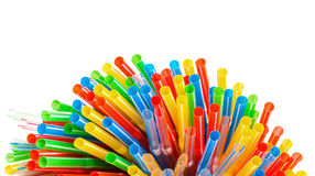 Colored Plastic Drinking Straws with copy-space Stock Photo