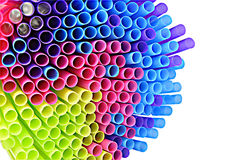 Colored plastic drinking straws on white background Royalty Free Stock Image
