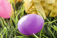 Colored Plastic Easter Eggs Stock Photos