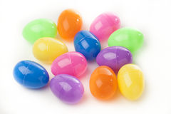 Colored Plastic Easter Eggs. With chocolate inside Royalty Free Stock Photos