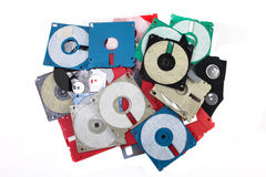 Colored plastic floppy disc. Colored damaged plastic floppy disc Royalty Free Stock Photo