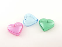 Colored plastic hearts Royalty Free Stock Image