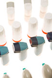 Colored plastic inhalers and PEF. Background of Colored plastic inhalers and PEF Equipment Stock Photos