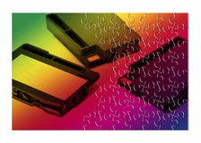 Colored plastic inkjet cartridges with white label for text inse Stock Photo