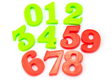 Colored Plastic Magnetic Numbers Stock Images
