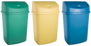 Colored plastic selective trash can Stock Photos