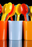 Colored plastic spoons Stock Image