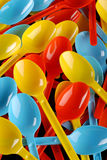 Colored plastic spoons Royalty Free Stock Photography