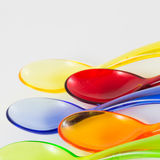 Colored plastic spoons Royalty Free Stock Photos