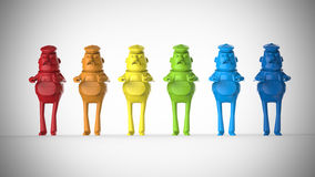 Colored plastic workers figures toys Stock Photo