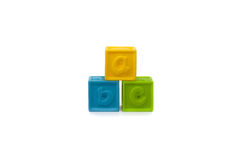 Colored Play Blocks. Pyramid of Colored Play Blocks with letters Stock Images