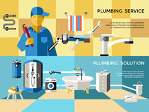 Colored Plumbing Concept Banner Set Royalty Free Stock Photography