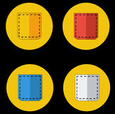 Colored pocket icons Royalty Free Stock Photos