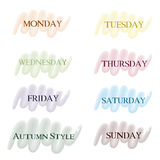 Colored pointers days of the week Stock Images