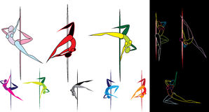 Colored pole dancers silhouettes Royalty Free Stock Photography