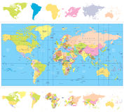 Colored political World Map with continnets Royalty Free Stock Photography