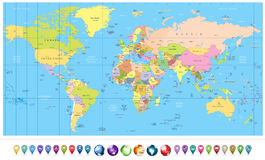 Colored political World Map and 3D globes with navigation icons Stock Photos