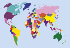 Colored political world map Royalty Free Stock Photography