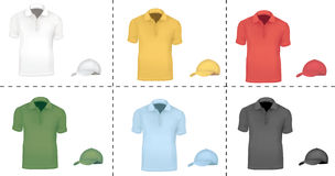 Colored polo shirts with caps. Royalty Free Stock Photo