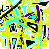 Colored polygons graffiti pattern on a yellow background Stock Photos