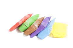 Colored polymer clay in packages Royalty Free Stock Photo