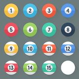 Colored Pool Balls. Numbers 1 to 15 and zero ball. Flat style with long shadows. Modern trendy design. Royalty Free Stock Images