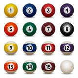 colored pool balls. Numbers 1 to 15 and zero ball. Royalty Free Stock Photo