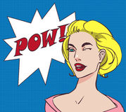 Colored pop art beautiful happy blonde woman with speech bubble pow. Vector lineart, eps 10 Royalty Free Stock Photos