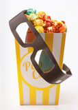 Colored popcorn with 3D glasses Stock Photography