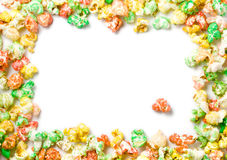 Colored popcorn full border Stock Photo
