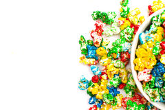Colored popcorn Stock Images