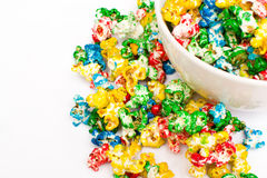 Colored popcorn Stock Photos