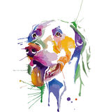 Colored portrait of dog in pop art technique Stock Images