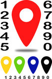 Colored position indicators for maps with number 1 Royalty Free Stock Image