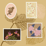 Colored Postage Stamps. With Birds and Flowers Stock Illustration