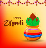 Colored pot with coconut on beautiful orange sunny background with garland made of flowers. Happy Ugadi and Gudi Padwa Hindu New Year. Greeting card for holiday Royalty Free Stock Photo
