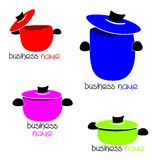 Colored pots. Set of cooking pots of different sizes stock illustration