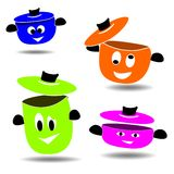 Colored pots. Set of cooking pots of different sizes royalty free illustration
