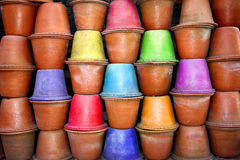 Colored Pots Background Stock Photo
