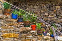 Colored pots in Penalba de Santiago stock images