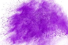 Colored powder explosion. Colore dust splatted. Abstract purple powder explosion on white background. abstract colored powder splatted, Freeze motion of royalty free stock images