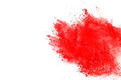 Colored powder explosion. Colore dust splatted. Abstract of red powder explosion on white background. Red powder splatted isolate. Colored cloud. Colored dust stock images