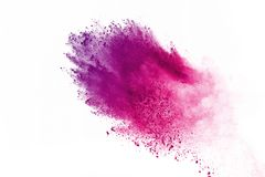 Colored powder explosion. Colore dust splatted. Abstract of colored powder explosion on white background. Multicolor powder splatted isolate. Colorful cloud royalty free stock images