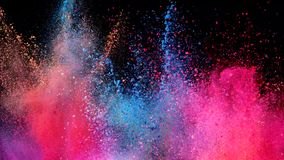 Colored powder explosion. Super slow motion of coloured powder explosion isolated on black background. Filmed on high speed cinema camera, 1000fps stock video footage