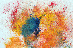 Colored powder on white Royalty Free Stock Photography