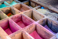 Colored powdered pigment or sand for artwork Royalty Free Stock Photo