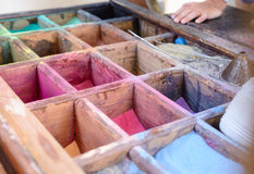 Colored powdered pigment or sand for artwork Stock Photos